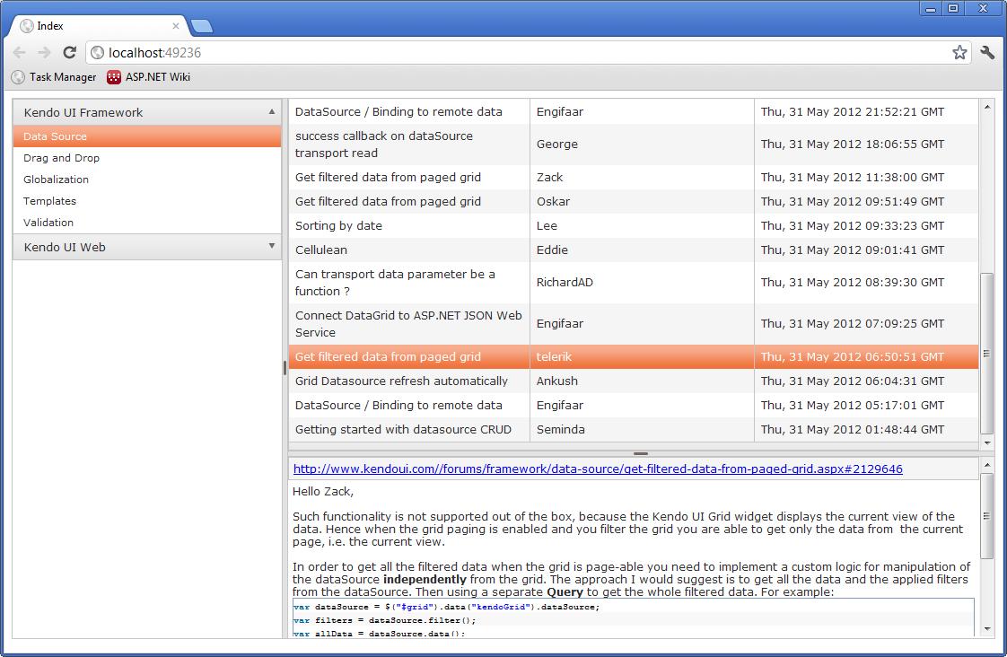 Kendo UI for ASP NET MVC : Building a Forum Browser - ASP